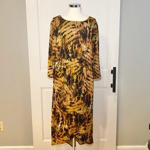 Cato Woman Printed Long Sleeve Plus Size Dress